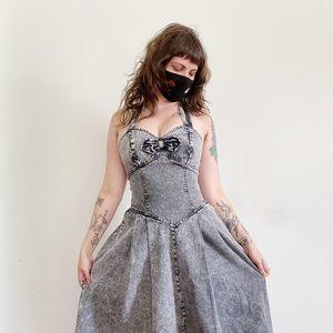 Vintage Black Acid Wash Denim Halter Busty Dress